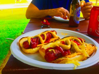 Dad's gourmet hot dogs!