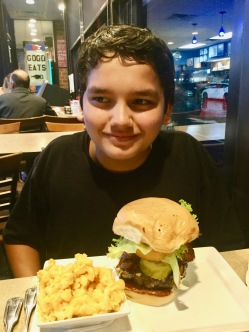 """""""I got a burger and mac n' cheese! I am being taken pictures of, but I am not eating yet??! What the dunk in the dunking world is going on?!?!""""--Julian"""
