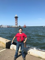 """Now I am at Lake Erie. This sure is a great place for fishing!""""--Julian"""