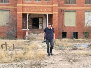 Dad leaving the historic high school!