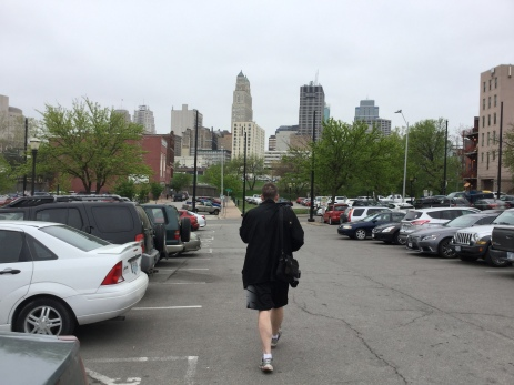 Dad walking to some type of pig place!