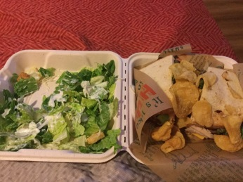 Salad, sandwich, and chips!