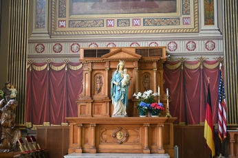 Mother Of God Roman Catholic Church: a beautiful statue of the Blessed Virgin Mary.