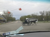 (Willshire, OH) A view of the Amish Carriage to the Texas Roadies Mobile!