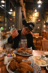 """Lovin' that chicken from Cracker Barrel!""—The Texas Giant, 10 ft 5 in"